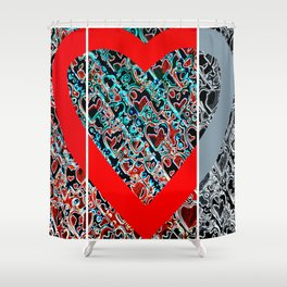 heart a plenty times 3 Shower Curtain