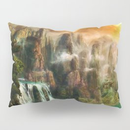 Magical Waterfalls on the Cliffs Pillow Sham