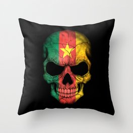Dark Skull with Flag of Cameroon Throw Pillow