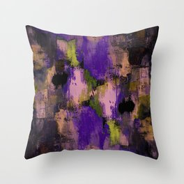 Abstract Nature - Textured, blue, yellow, pink, lilac, purple, black and orange painting Throw Pillow