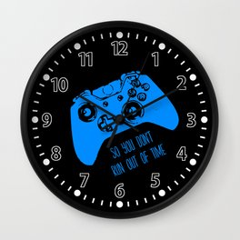 Video Game Blue on Black Wall Clock