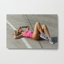 summer fitness girl Metal Print