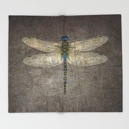Dragonfly On Distressed Metallic Grey Background Throw Blanket