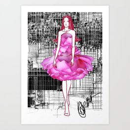 My rose dress fashion illustration concept. Art Print