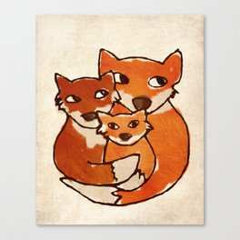 Fox Family Quirky San Jones Illustration Canvas Print