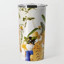 Tiger Reserve Illustration, Tropical Travel Luxury Villa, Wildlife Home decor Pastel Travel Mug