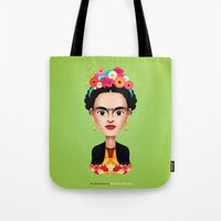 frida Tote Bags featuring Frida by Matias G. Martinez