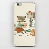 raccoon iPhone & iPod Skins featuring Raccoon Post by Teagan White