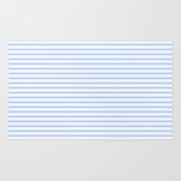 Mattress Ticking Narrow Striped Pattern in Pale Blue and White Rug