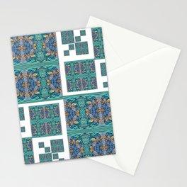 Optical Illusion Square Aqua Lavendar Mandala Quilt Design Stationery Cards