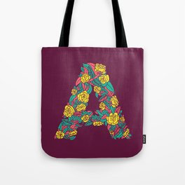 Floral Type - Letter A - Wine Berry Tote Bag