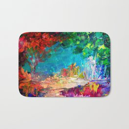 WELCOME TO UTOPIA Bold Rainbow Multicolor Abstract Painting Forest Nature Whimsical Fantasy Fine Art Bath Mat