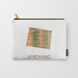 Wyoming map outline Brown green blurred watercolor texture Carry-All Pouch