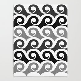 Black and White Waves Poster