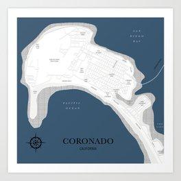 Coronado Map Art Print