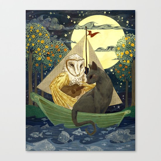 The Owl And The Pussycat Canvas Print By Anne Lambelet