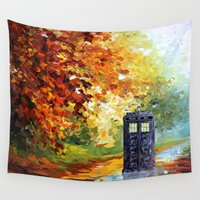 221b Wall Tapestries featuring starry Autumn blue phone box Digital Art iPhone 4 4s 5 5c 6, pillow case, mugs and tshirt by Three Second
