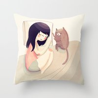kitty Throw Pillows featuring Best Friends by Nan Lawson