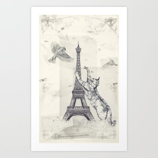 cat attack Art Print