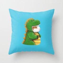 Guinea Pig in a Dinosaur Costume - Peegosaurus Rex Throw Pillow