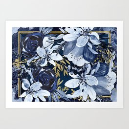 Navy Blue & Gold Watercolor Floral Art Print