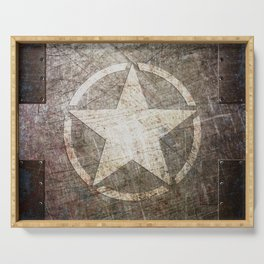 Army Star on Distressed Riveted Metal Door Serving Tray
