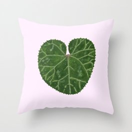 Cyclamen leaf - pink Throw Pillow