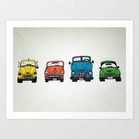 cars Art Prints featuring Cars by Sol Fernandez