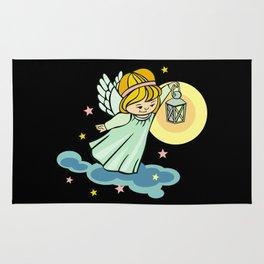 Flying angel with lantern Rug
