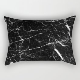 Black and White Marble Rectangular Pillow