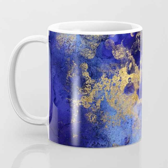 Gold And Blue Indigo Malachite Marble Coffee Mug