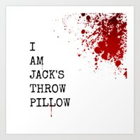 Jack's Throw Pillow Blood Art Print