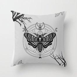 Witch Craft Grey Throw Pillow