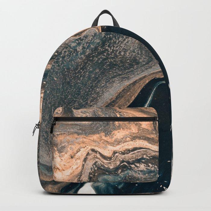 M A R B L E - copper & blue Backpack