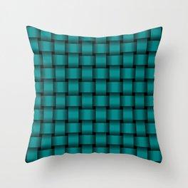 Dark Cyan Weave Throw Pillow