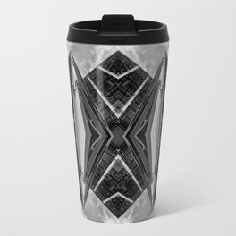Alien Mothership and Cloudscape in Black and White Travel Mug