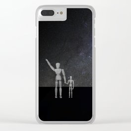 Wooden Anatomy Doll Father Points to Moon with Child Clear iPhone Case