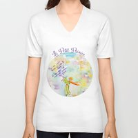 le petit prince V-neck T-shirts featuring Le Petit Prince- The little Prince flying by Colorful Simone
