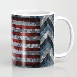 Blue Military Digital Camo Pattern with American Flag Coffee Mug