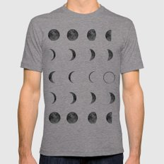 Moon Phases, Black White Decor, Bohemian, Magic, Lunar Cycle Mens Fitted Tee Tri-Grey SMALL