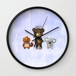 Bear Platypus and Koala Illustration on Purple Wall Clock
