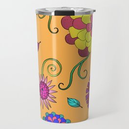 Crazy Daisy vitamin C pattern Travel Mug