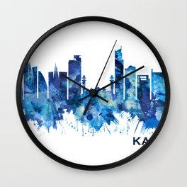 Karachi Skyline Pakistan Blue Wall Clock