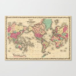 Vintage Map of The World (1860) Canvas Print