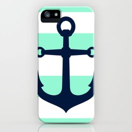 NAVY ANCHOR ON MINT iPhone Case