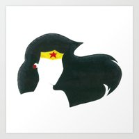 super hero Art Prints featuring super hero by Cream Empire