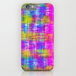 plaid pattern painting texture abstract background in pink purple blue yellow iPhone Case