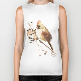 Cardinal Bird and Fall Berries Biker Tank