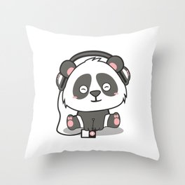 Chilling Panda Headphones Musik Cute Present Gift Throw Pillow
