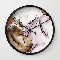 corgi Wall Clocks featuring Corgi by Carsick T-Rex